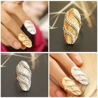 nail charms - Factory Price Charm Silver Gold Colors Crystal Stripe Nail Rings Punk Cool Finger Beauty nail Ring For Girl Lady J0023