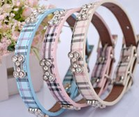Wholesale 3 Colors New Luxury Fashion Pu Leather Bling Diamond Lovely Tartan Dog Collar
