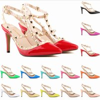 large size high heel shoes - Valentine Rockstud Shoes Candy Color Cutout Pointed Toe High Heeled Rivet Studded Patent Leather Strap Sandals Large Size