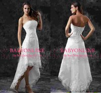 short strapless dress - Real Image Strapless Hi Lo Summer Beach A Line Wedding Dresses Lace Appliques Beads Length Short Formal Vestidos Bridal Gowns CPS110