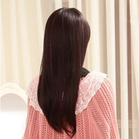 Wholesale 9 Color Straight Hair Bright silk Hair perucas cm Laser wire hair Hairpiece Women Clip Hair Clip In Hair Extensions