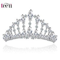 Wholesale Teemi Brand New Wedding Noble Fashion Top Quality Clear AAA Zircon Crown Rhodium Plated Bridal Tiaras Hair Jewelry for Party