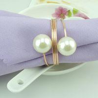 Wholesale 100pcs Sweet Round Metal Napkin Rings Double Pearls Serviette Holders Hotel Restaurant Supplies wa156