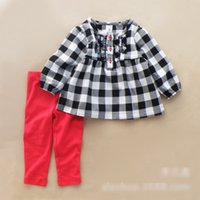 clothes europe - 2015 Spring Girls Clothes Set Children Clothing Europe Brand Long Sleeve Tops Leggings Outfits Ruffles Kids Plaid Tights Sets H3002