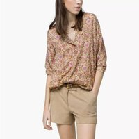 Cheap 2015 new European and American women's clothing round neck shirt sleeve flower print blouse