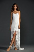 Wholesale 2015 New Beach Wedding Dresses A Line Lace Sexy Plus Size White Wedding Dresses with Spaghetti and Split Front and Backless Hi Lo Gowns