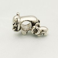 beads thailand - 10pcs per Thailand Animal Elephant Mom and Baby Bead In silver Color Plating European Charm Fit Pandora Bracelet
