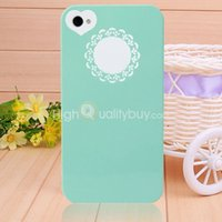 Wholesale Hot Sale Hard Plastic Heart Flower Thin Skin Case Cover for iPhone S Green
