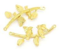 achat en gros de connecteurs à débordement d'or-New Gold d'arrivée colorer Le Bracelet à débordement de forme de connecteur connecteur 3.4x1.6cm de branche d'oiseau doré bricolage jwelery main