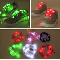 Cheap 7th Gen LED Lamp beads Nylon Flat Luminous Glowing Flash Flashing Shoelaces Shoe laces Lace Shoelace DHL FEDEX UPS FREE SHIPPING