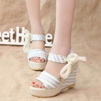 Wholesale Hot Sale Summer Ladies Sandals Fashion Stripe Leather Women Wedges Sandals Bowknot Womens Platform Peep Toe Shoes Retail H800