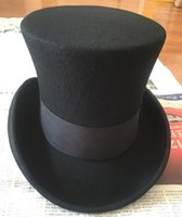 Wholesale cm inch Wool High Top Hat Uncle Sam Magician Stove Pipe Beaver Hat Gun Rose Slash Sherlock Hat
