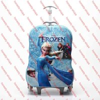 Wholesale 2015 Animation Romance elsa Anna Travel Outdoor Pull rod box D stereo girl luggage suitcase cartoon school bag children gift