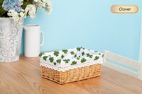 Wholesale The storage basket rattan storage basket willow laundry snacks desktop cosmetics box cloth pastoral sundries Clover