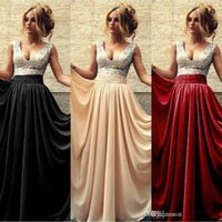Wholesale 2015 Summer Cheap Evening Dresses V Neck A line Chiffon Sequins Long Prom Dress Burgundy Black Party Gowns