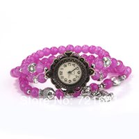 Wholesale 500pcsFashion Lady Style Crystal Beads Watch Vine Wristwatch Lover Ally Analog Quality Quartz Watch