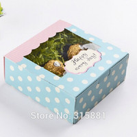 Wholesale Blue Polka Dot gitf Packing Boxes cake packing box with window x13 x5cm