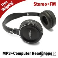 Wholesale 2014 New model High quality Stereo Music Headphone with FM New Sport headset Mp3 player computer mp3 microSD card slot