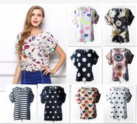 Cheap Hot Sale!!Fashion Women Chiffon Shirt Summer Loose Printing Casual Lady Round Neck Blouses S-XXL