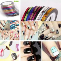 Wholesale Mixed Colors Striping Tape Line Nail Art Sticker Decoration Self adhesive Rolls Nail Accessories Manicure