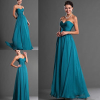 Wholesale Dark Teal Bridesmaid Dresses under Cheap Long Wedding Party Dress Empire Waist Ruffles Chiffon Flowing Beach Wedding Party Evening Gowns