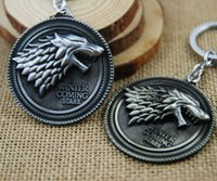 Wholesale Game of Thrones Shield Round Coin Metal A Song of Ice and Fire Stark family crests Keychain Pendant Key Chain Chaveiro Key Ring JIA647