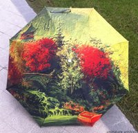 barometer rain - Non automatic ladies umbrellas parapluie cloth painting scenery barometer aluminum portable umbrella rain women brand