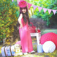 red ribbon rose - New Arrival Hot Sale Children Jumpsuit Rose Red Color Chiffon Jumpsuit With Headbands Baby Girl Chic Special Design yeras Kids OM23IA