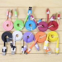 Wholesale High Quality Micro USB Charger Cable Sync Data Charging M FT Flat Noodle Cable Cord For Samsung Galaxy S6 S4 V8 Android Mobile Phone HTC