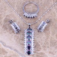 Wholesale Astonishing Rainbow Mystic White Topaz Silver Jewelry Sets Earrings Pendant Ring Size Free Gift Bag