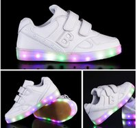 beef rounds - Free Autumn winter new boy Girls LED Light shoes sandals cool Luminous shoes PU Low help Beef tendon flash Light shoes