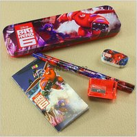 pen knife - 2015 AAA quality Cartoon beast corps Big Hero Baymax kids boy girl student Pen boxes pencil bag knife eraser notes gift TOPB1909 set