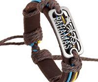 bahamas men - 2015 latest version punk style genuine leather bracelet handmade man woman BAHAMAS rope adjustable bracelet