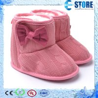 boots baby fur - Toddler Knited Winter Faux Fleece Crib Snow Boots Kid Baby Shoes Bowknot Woolen Yam Fur Knit Shoes First Walkers wu