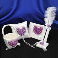 Wholesale White Purple D Rose Flower Wedding Guest Book Bearer Ring Pillow Feather Pen Set Girl Flower Basket Wedding Suppliers Favor Full Set