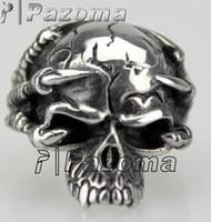 Wholesale Men s Silver Devil Skull Demon Biker Stainless Steel Ring Size