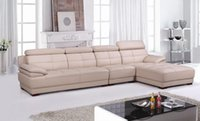 beige leather sectional - Beige Leather Top Grain Cattle leather Lshaped sectional house furniture sofa set welcome OEM ODM E306