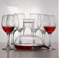 glass decanter - Genuine eight sets of crystal glass of red wine goblet suit combination glass decanters