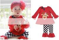 children clothings - Christmas Children Suit Girls Christmas girls Lotus leaf t shirt lace pant Sets Child Clothings pieces Kids clothes