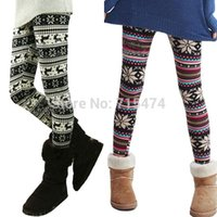 Wholesale Women Legging Pants New Ladies Winter Retro Knitted Snowflakes Multi Colors Figure Leggings Drop shipping