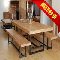 dining table - country iron wood furniture retro combined wood dining table and chair chairs rectangular dining table and chair table