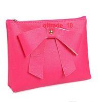 Wholesale 50 BBA5451 women Fashion Cosmetic bag kawaii makeup bag Lady Travel Cosmetic Pouch Bag pu organizer storage bag bowknot purse wallet totes