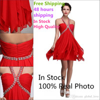 Wholesale 2016 Cheap Short Club Party Dresses With Beaded Halter Backless In Stock Red Homecoming Dresses High Quality