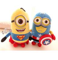 Wholesale 2015 New minion quot cm or cm Despicable ME Movie Plush Toy minions Superman Captain America Minions Plush Toys D eyes