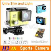 Caméra ultra-mince de sports d'Ultra HD 4K 170 caméras de sports d'angle imperméable à l'eau 30m 2 caméra d'action de pouce 1080p H2 lumière mince HDMI wifi de DHL libre
