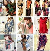 Wholesale 50 BBA4395 color lady chaddar plaid collar lattice grid scarf Fringed tassel Muffler Neckerchief shawl Wraps Pashmina ring blanket scarf