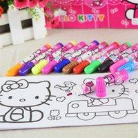 Wholesale 12colors set Fashion Marker Sets ETO030 South Korean Stationery Cute Cartoon Watercolor Pen for Scrapbooking Photo album