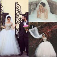 Wholesale 2015 Vintage Ball Gown Plus Size Bohemian Wedding Dresses Off the Shoulder Crystals Arabic Brides Gowns Beads Vestidos De Noiva Said Mhamad