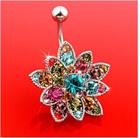 Wholesale Fashion Crystal Flowers Gem Button Body Piercing Bar Navel Belly Ring Jewelry Gift