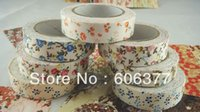 Wholesale JD014 Roll Colorful Flowers Fabric Tape New DIY Handmade Lace Tape Multifunction Adhesive Tape